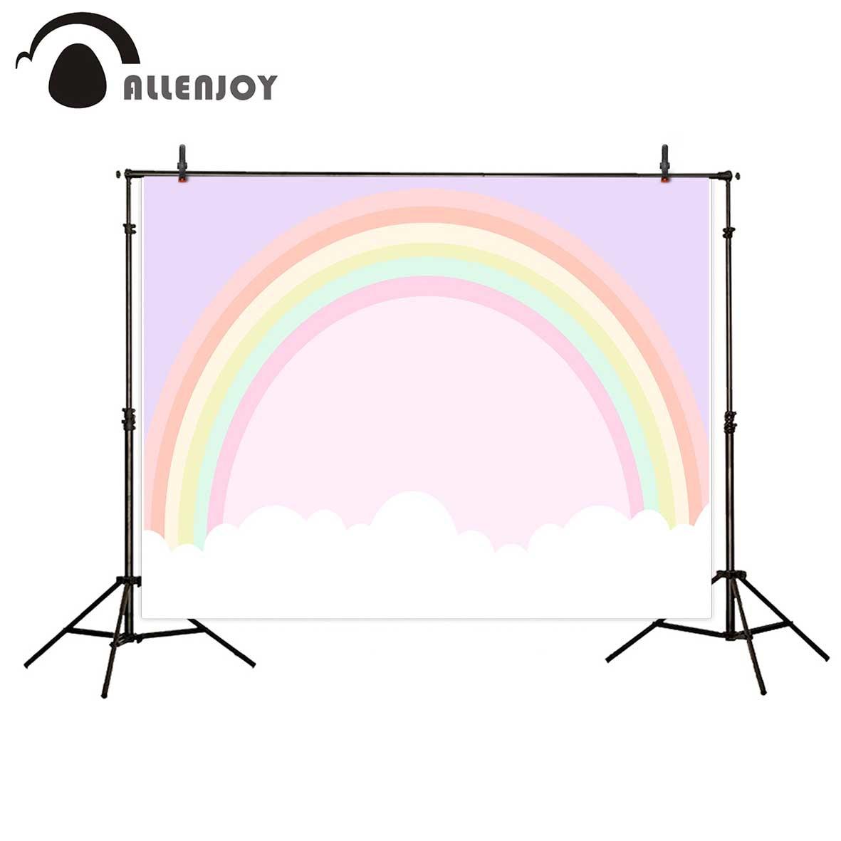 Allenjoy photographic background Rainbow Cloud Custom Birthday Children new backdrop photocall photo print customize fotografia