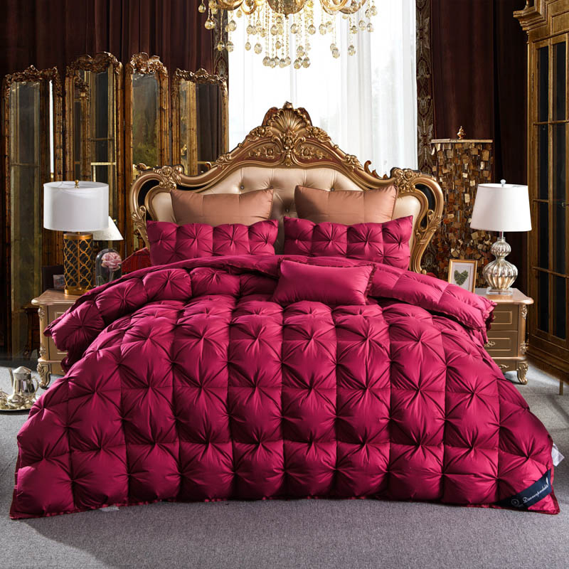 Red Color Twisted Flower Goose Down Comforter King Queen Full Twin
