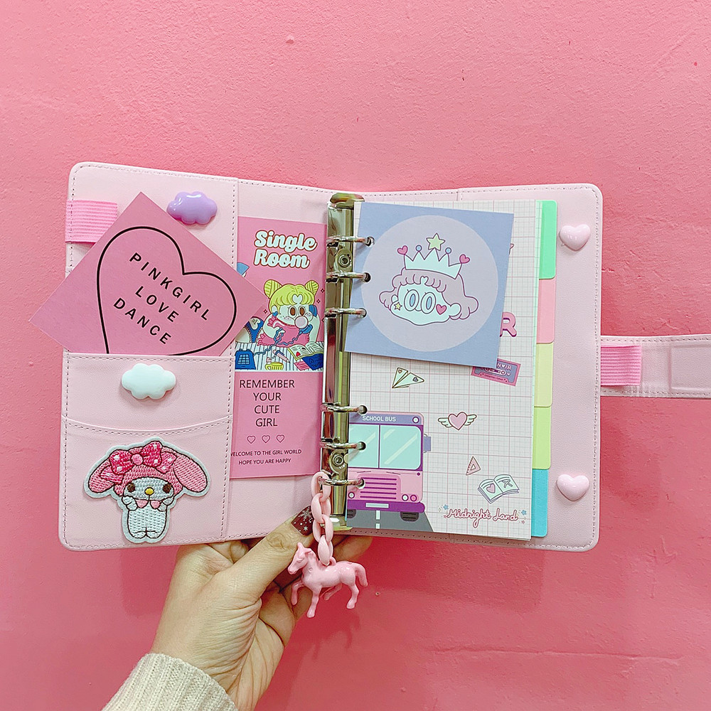 Creative Kawaii DIY Kawaii A6 PU Leather Loose Leaf Spiral Notebook Dairy Weekly Planner To Do It Hand Book Girls Birthday Gift