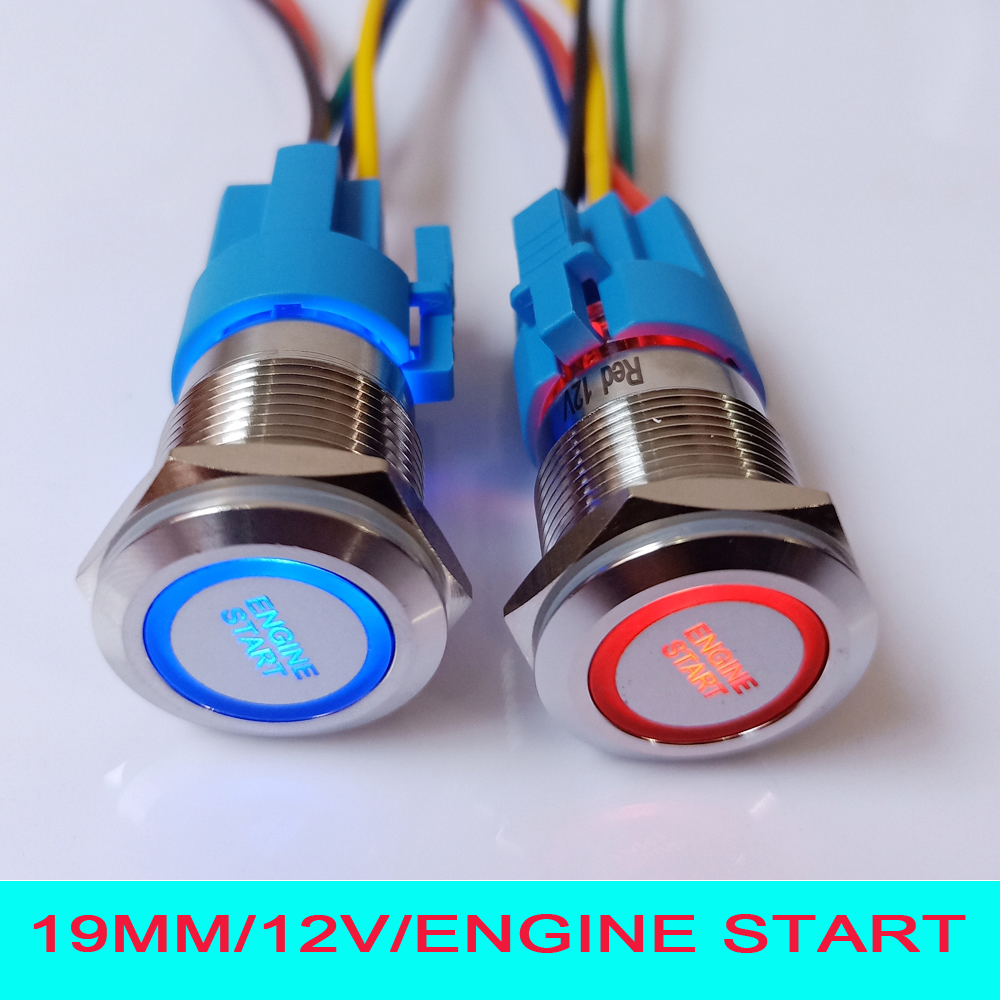 medium resolution of 19mm 12v led illuminated engine start car push button switch with 15cm wire plug connector socket