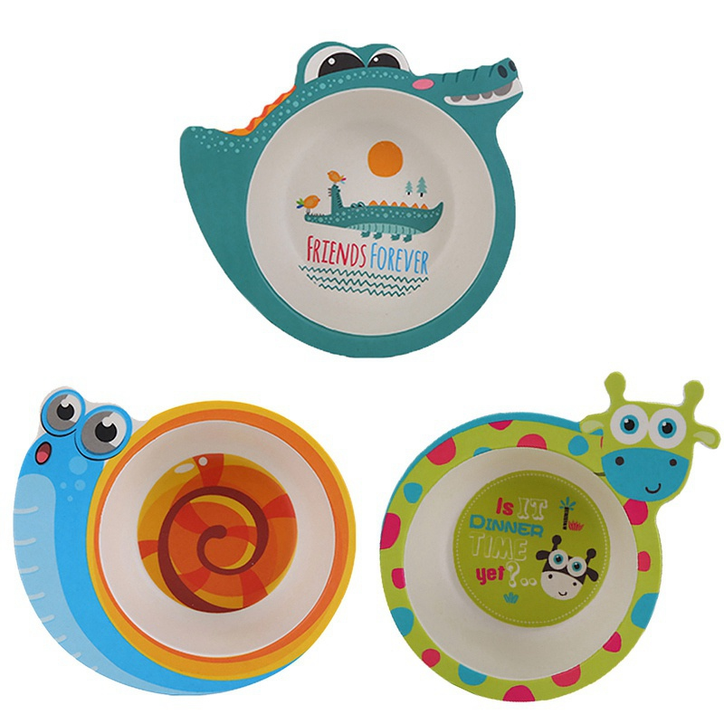 Kids Baby Natural Bamboo Fiber Bowls Cute Cartoon Animal Dishes Baby Feeding Tableware Children Infant Toddler Portable Plates