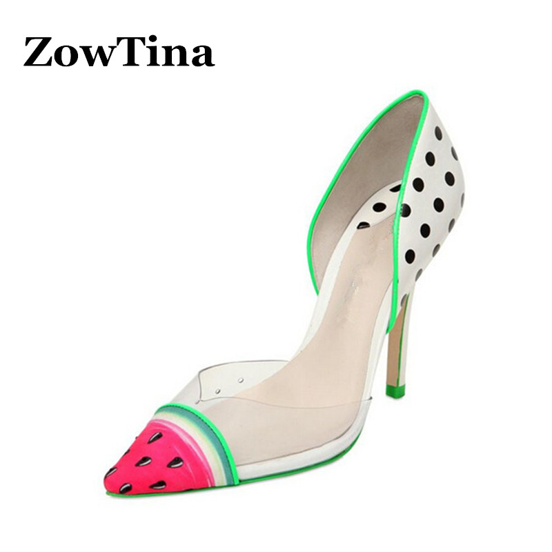 Women Leather High Heels Wedding Shoes Woman Pointed Toe Watermelon Print Dress Pumps Large Size 42 Zapatillas Mujer Chaussure bowknot pointed toe women pumps flock leather woman thin high heels wedding shoes 2017 new fashion shoes plus size 41 42
