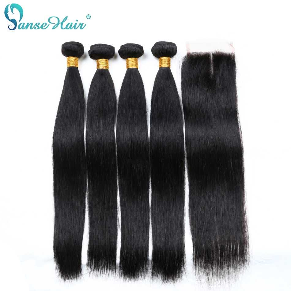 Panse Hair 4 Bundles With Closure Malaysian Straight Human Hair 4 Pcs Per Lot Human Hair Weaving Customized 8-28 Inches Non Remy