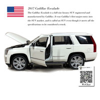 WELLY 1/24 Scale Car Model Toys Cadillac Escalade SUV 2017 Diecast Metal Car Model Toy For Collection,Gift,Kids