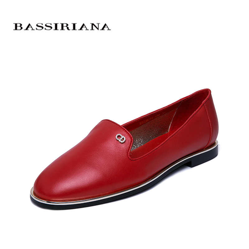 BASSIRIANA2019 new spring and summer leather shoes woman flats slip-on red Black Soft genuine leather women shoes