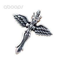 Vintage 925 Sterling Silver Angel Wing Feather Cross Necklace Pendant for Men Free Shipping equte psiw264 stylish 925 sterling silver necklace w angel wing pendant for women silver 18