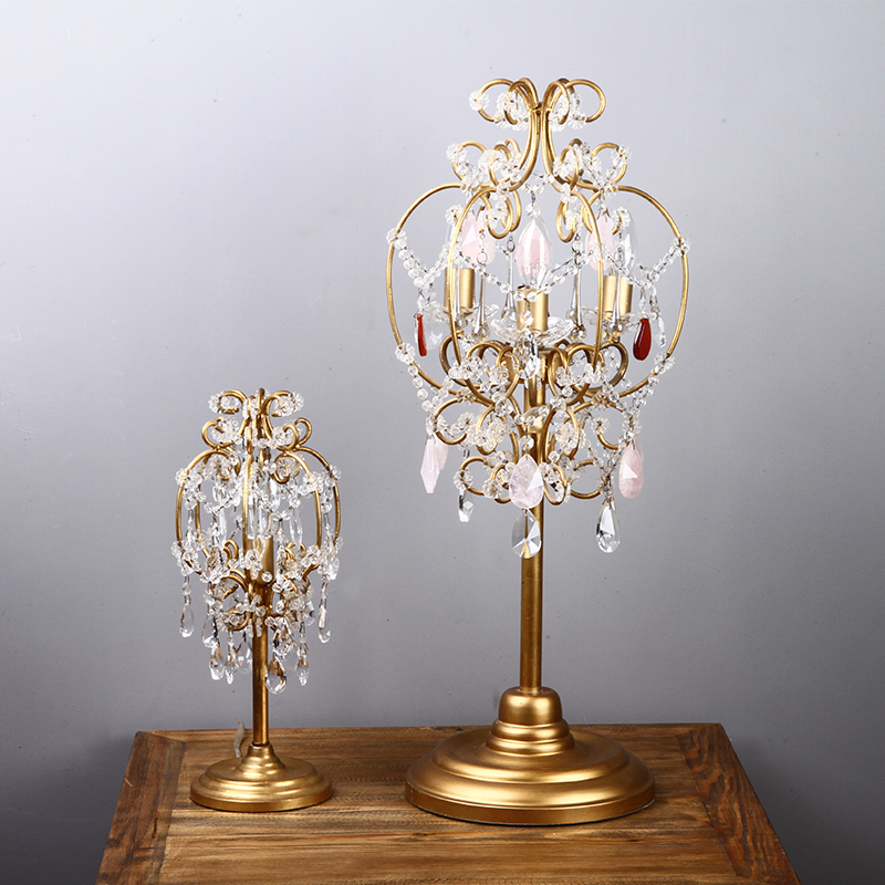 Antique wedding crystal candle holders Led candlestick Office work table desk Lamp for Bedroom Led table candle light Luminaria