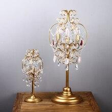 Candelabros de cristal de boda antiguos candelabro Led lámpara de escritorio de mesa de trabajo de oficina para dormitorio lámpara de vela de mesa Led Luminaria