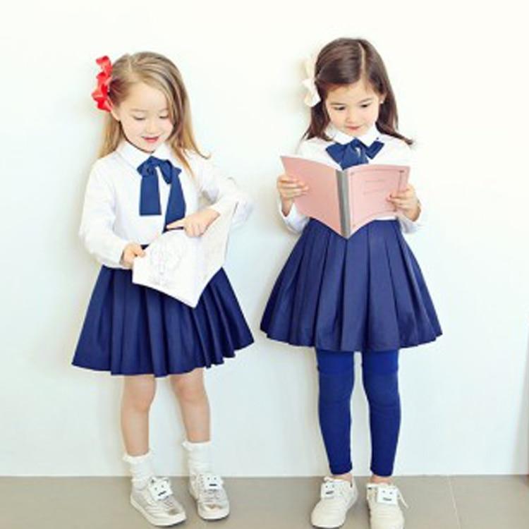 a9109e27bd Niñas Niños Vestidos de Uniforme Escolar Niño Niños Inglaterra Estilo Azul  Blanco Causal de Manga Larga Arco Vestido de Otoño 66 en Vestidos de Mamá y  bebé ...
