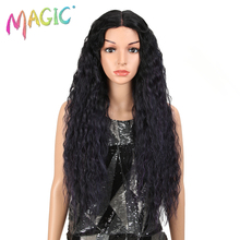 MAGIC Hair 28 Inch Soft Long Kinky Curly Wigs I Lace Front Wig For Black Women Synthetic Hair Heat Resistant Wigs For Women blonde hair natural black root synthetic curly wigs lace front wig for women heat resistant free shipping