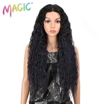 MAGIC Hair 28 Inch Soft Long Kinky Curly Wigs I Lace Front Wig For Black Women Synthetic Hair Heat Resistant Wigs For Women free shipping red hair kinky curly synthetic wig for black women 180 nsity lace front wigs heat resistant fiber