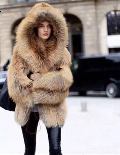 2017 winter imitation fox fur coat luxury women hooded thicker jacket coat wj1678 fashion brand good quality dropship
