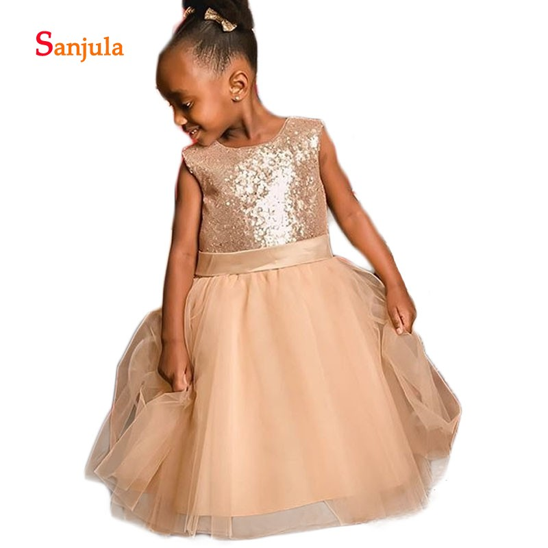 Shiny Sequins Ball Gown   Flower     Girls     Dresses   Puffy Tulle Skirt Scoop Tank   Girls   Pageant Party   Dresses   Short comunion D240