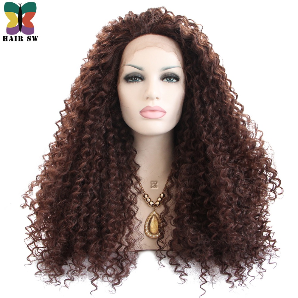 HAIR SW Long Deep Curly Synthetic Lace Front Wig 150 Heavy Density Brown Color Heat Resistant