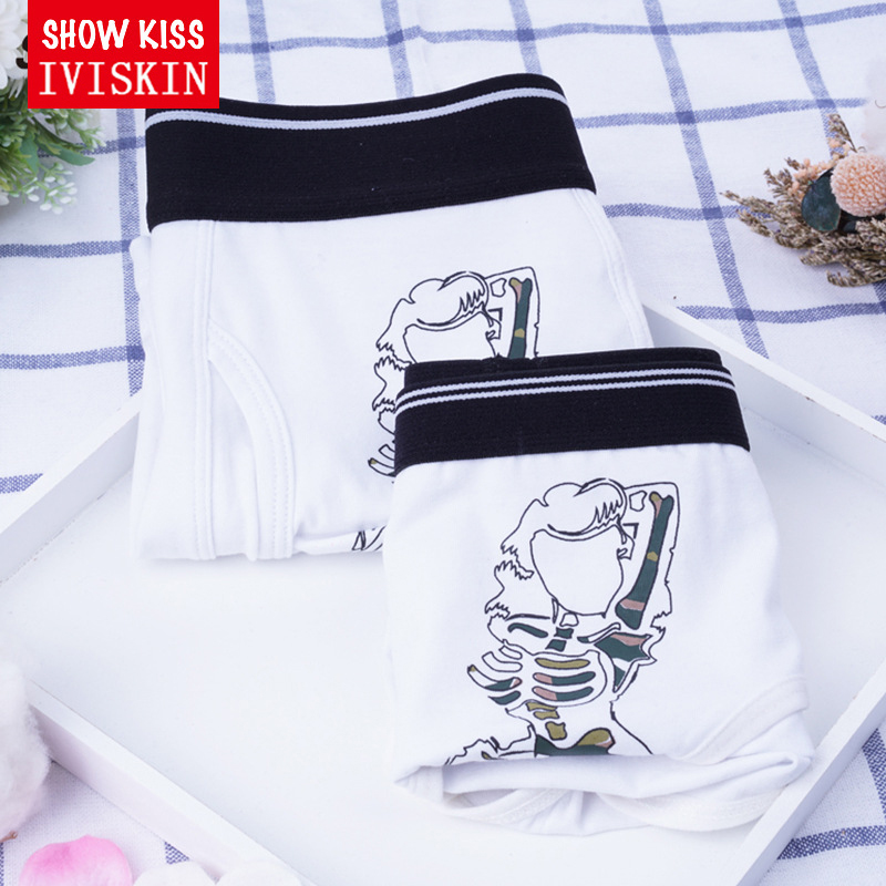 2017 New White Couple Underwear Skull Female Panties Male Boxers funning Underpant Women Panties Mens Boxers Lovers gifts ...