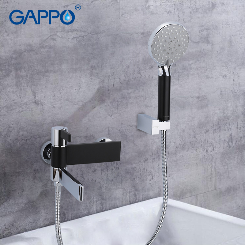 GAPPO Sanitary Ware Suite do anheiro taps black and chrome wall bathroom faucet mixer brass bathroom rainfall shower set        GAPPO Sanitary Ware Suite do anheiro taps black and chrome wall bathroom faucet mixer brass bathroom rainfall shower set