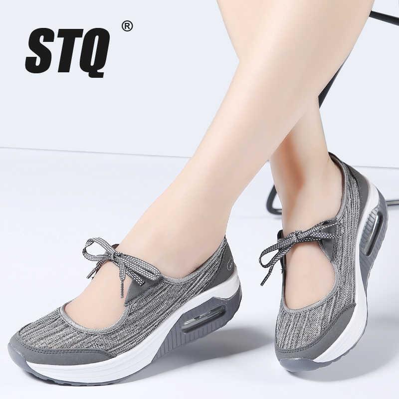 45897609d9602 STQ 2019 spring women flats platform shoes women breathable mesh casual  shoes female platform sandals heel