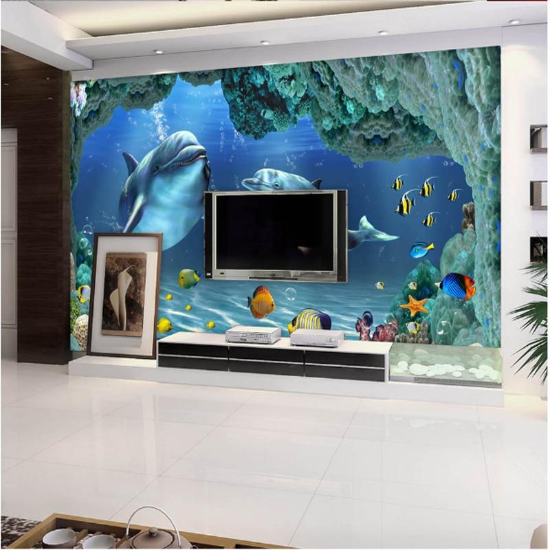 beibehang world wallpaper mural photo 3d wallpaper Dolphins backdrop mural wallpaper sea background wallpaper papel de parede