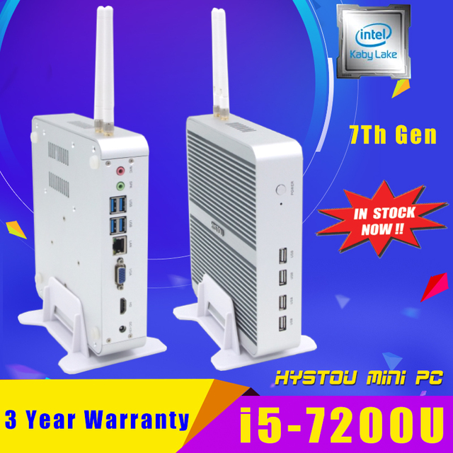 7Th Gen Kaby Lake Intel Computer CPU Fanless Core i5 7200U Mini PC Windows 10 Nettop NUC i5 Small Linux PC i3 7100U Set Top Box