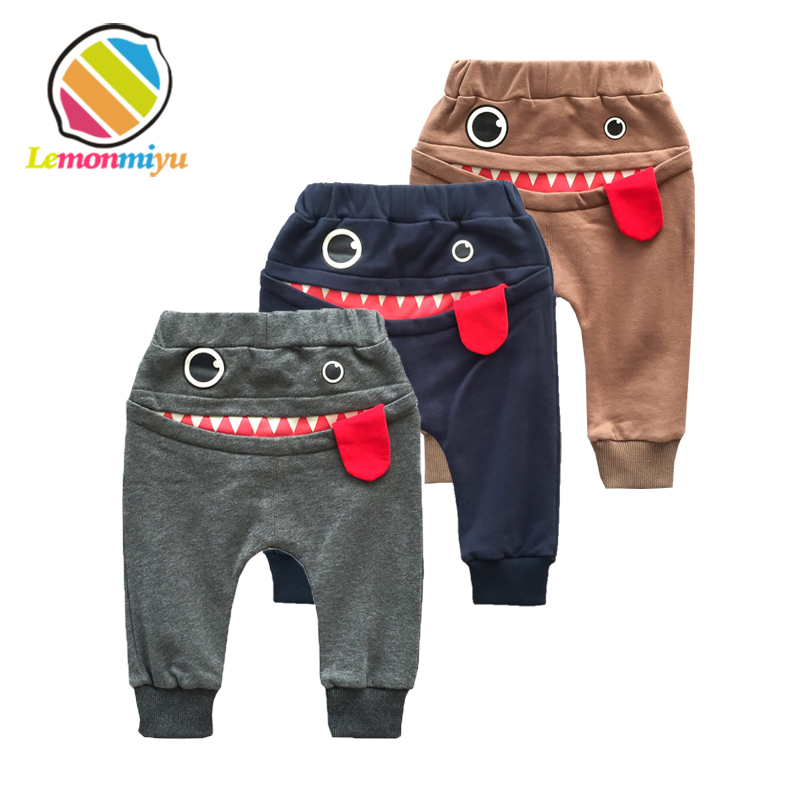 Lemonmiyu Cartoon Baby Full Length Pants Cotton Toddler Spring Harem Pants Newborn Casual Trousers Loose Infants Elastic Pants jiqiuguer women solid cotton wide leg embroidery pants vintage stretch jeans elastic waist loose casual spring trousers g182k004