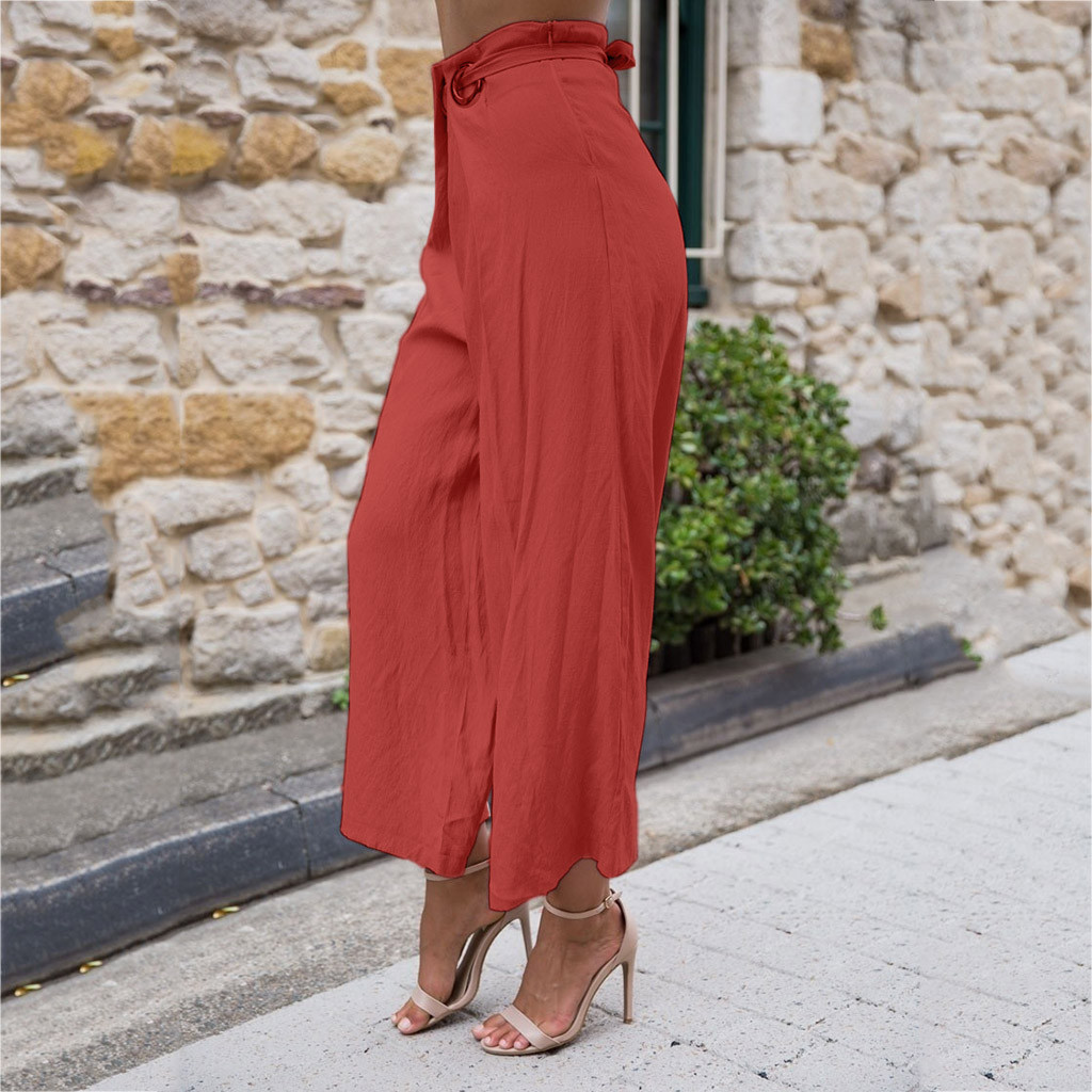 Lady wide leg   Pants   Women Summer High Waist Trousers Chic Streetwear Chic streetwear sash casual   pants     capris   female 7.5