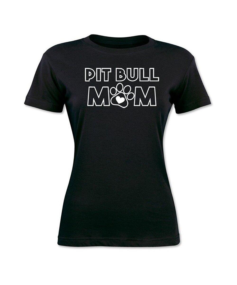 Возьмите Летний стиль 2017 г. женские футболки с коротким рукавом собака питбуль мама милые Для женщин Футболка Высокое качество Повседневна...