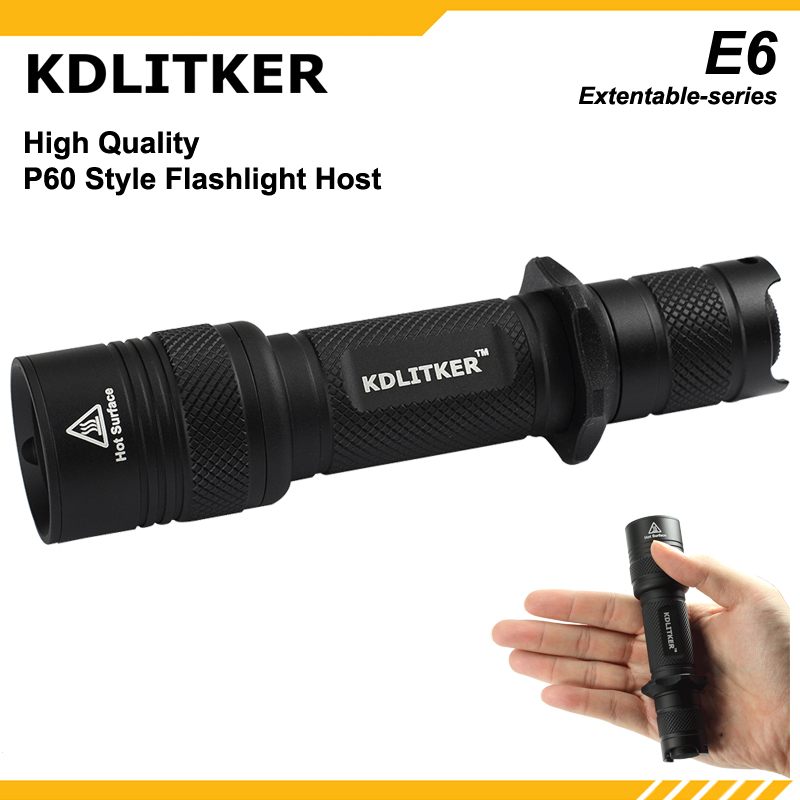 KDLITKER E6 / E6 Kit Flashlight Shell / E6-EX18 18650 Extension Tube - Black