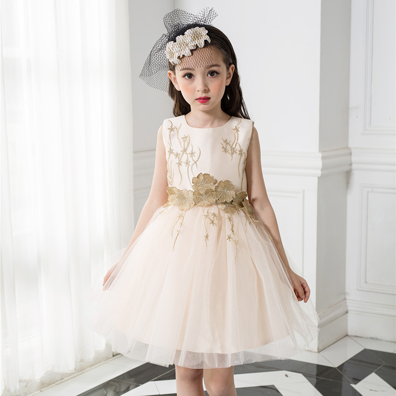 2507fc4721a44 US $25.1 11% OFF|JaneyGao 2019 Fashion Flower Girl Dresses for Wedding  Party Elegant Champagne Gown Tulle Dress with Embroidery Lace Appliques-in  ...