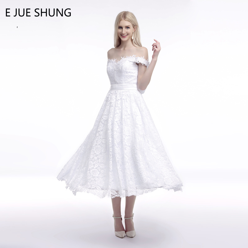 E JUE SHUNG White Vintage Lace Tea Length Cheap Wedding Dresses 2018 Off The Shoulder Simple Short Bridal Dresses robe de soiree