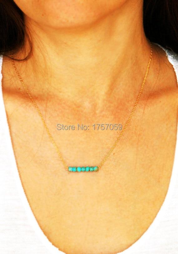 Türkis Halskette für Frauen Gold und Silber Farbe grüne Perlen - Modeschmuck - Foto 3