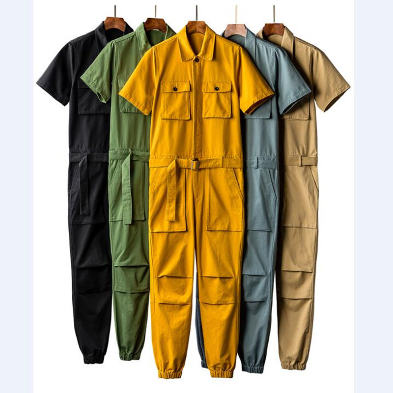 Jumpsuits Men Summer Short Sleeve One Piece Overalls Cotton Casual Mens Jumpsuit Rompers Summer Male Set Clothes Plus Size 5XL