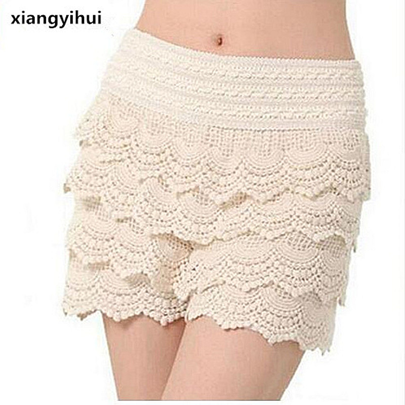 2017 New Summer Fashion Womens Shorts Sweet Style Lace Crochet Elastic Waist Slim Short Pants Plus Size S M L XL 2XL 7 color