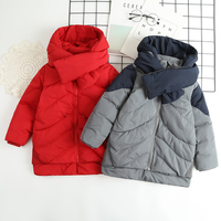 Kids Boy Girl Winter Down Jacket With Scarf Wholesale Lots Bulk Clothes Children Outerwear Coat Toddler Down Waterproof Jacket