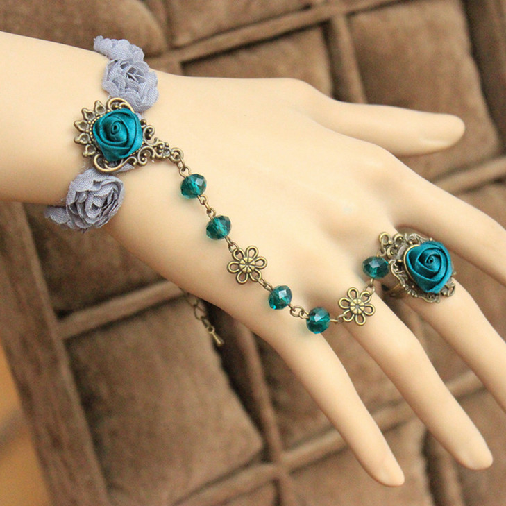 Free Shipping European And American Retro Handmade Women Wedding Jewellery Lace Flower Crytsal Wrist Bracelet Masquerade Ball
