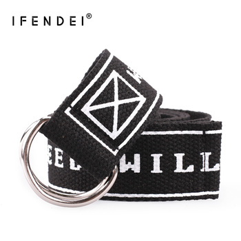 IFENDEI Yellow Unisex Belt Men's Casual Belt Women Canvas Belts For Jeans Double Ring Buckle Strap Fabric Embroidered Waistband