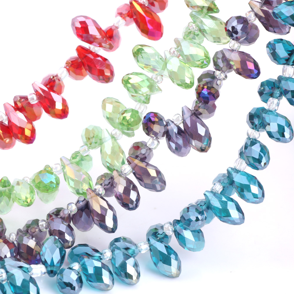 OlingArt Tears&Water droplets 6*12MM Austria Crystal Glass Beads charm multiple colour Loose Spacer Bead for DIY Jewelry Making