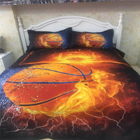 Papa&Mima basketball print Simple style 100% Polyester Queen King size duvet cover pillowcases sets no Sheet Dropshipping