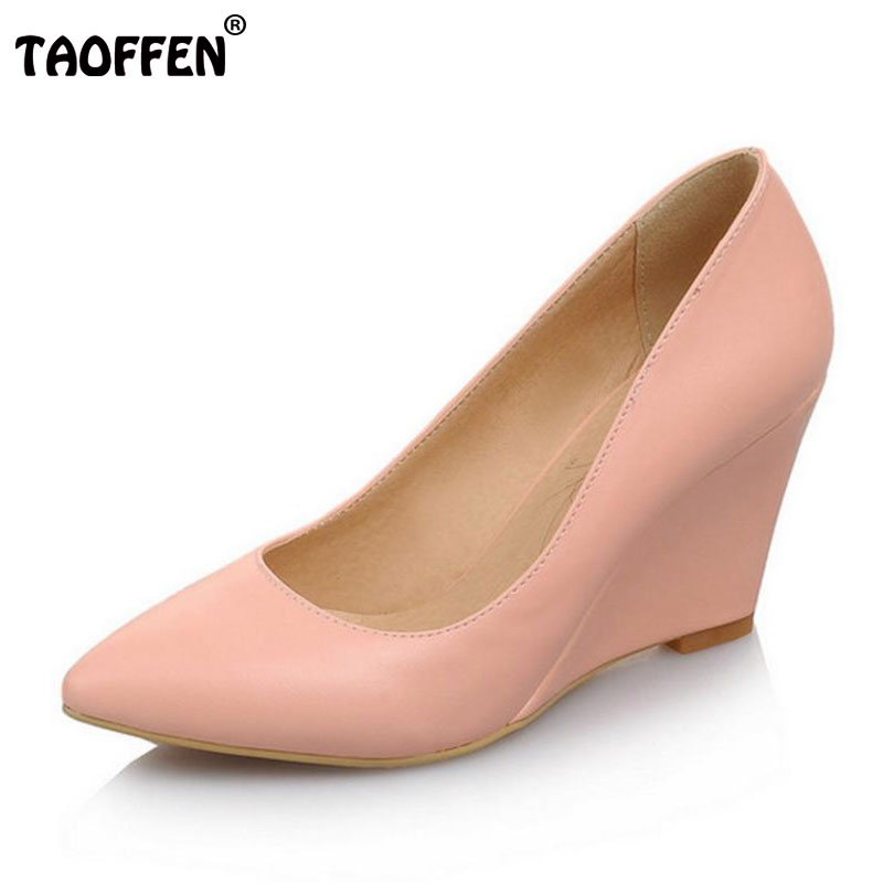 TAOFFEN women wedge high heel shoes wedding lady spring female pointed toe fashion heeled pumps heels shoes size 33-43 P16767 taoffen women high platform shoes patent leather star lady casual fashion wedge footwear heels shoes size 33 48 p16184