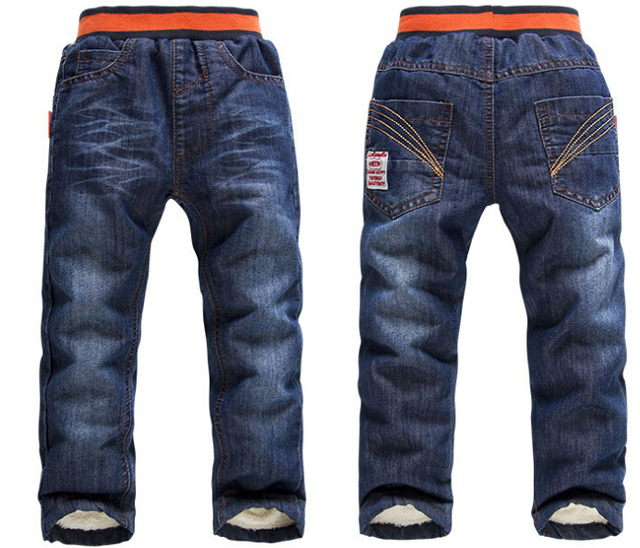 SK071 2015 новых Мальчиков/девочек теплый Detidetei толстый зимний брюки больших мальчиков джинсы дети дети мальчик джинсы