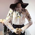 Wholesale Beading Embroidery Shirt 2016 new fashion Elegant sweet Pearl Blouse Long Sleeve turn-down collar Casual Shirt w411