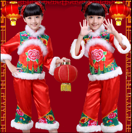 2016 Costume For Kids Chinese Traditional Dress Girl National Style Print Costumes Christmas Dresses New