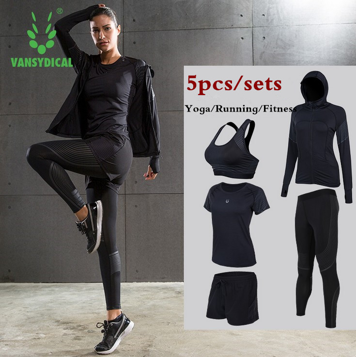 Women Yoga Running Suits Clothes Sports Set Jackets Shorts And Pants Bra Joggers Gym Fitness Compression Tights 5pcs/Sets 2017 new brand sports yoga set autumn long sleeved hoodie running fitness sports suits yoga clothing three piece women sweater