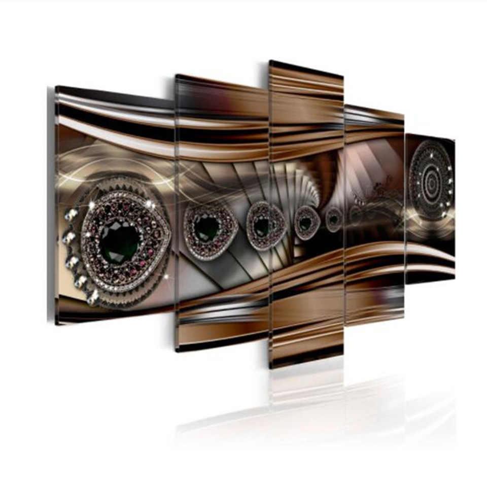 Modern Hot Sale Home Decor Wall Art HD Prints 5 Set Black Big Diamonds Canvas Painting Poster Modular Pictures Room Decoration