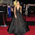 Vestidos De Fiesta 2015 De la celebridad Vestidos formales negro vestido De noche del v-cuello De tafetán De Tulle con dentro Vestidos baile