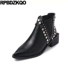 заклепка марка ботильоны металл острый носок слипоны короткая коренастый черный шпилька обувь челси зима батильоны Ботинки лодыжки для женщин средней пятки женская новый 2017 мода китайский женский