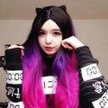 Boa qualidade barato sintético ombre Roxo Mixed Rosa cosplay perucas cor 26 ''kanekalon Reta Longa peruca com franja para venda