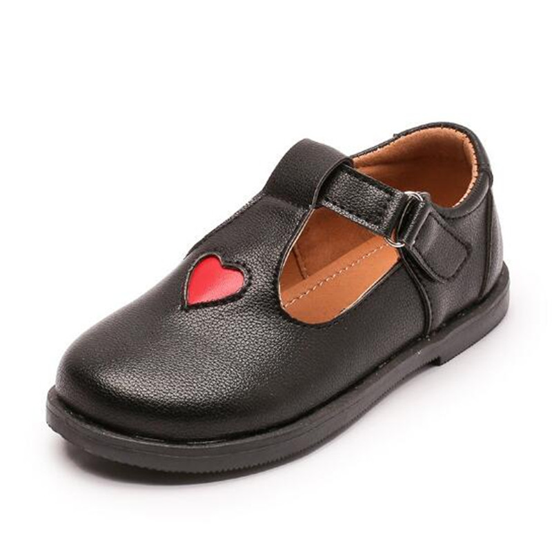 New Girls Love Style PU Leathe Shoes Baby Round Toe Princess Flat Heel Causal Shoes Hollow Out Kids Cute Red Loafers