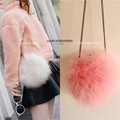 New designer Fluffy feather Women clutch round faux fur bag purse with chain
