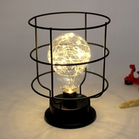 Retro Style Table Lamp Copper Wire Lantern Metal Figurines Home Office Decor Desk Decorative Lamp Battery Powered