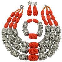 Fashion Orange Artificial Coral Beads Nigerian Jewelry Set African Wedding Beads Bridal Jewelry Sets FSH 014